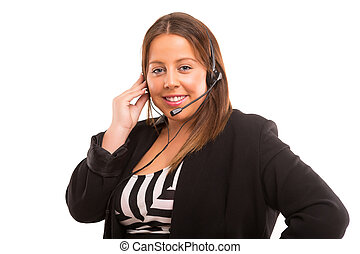 Telephone operator - Happy large woman working as a...