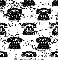 Telephone pattern, grunge, monochrome
