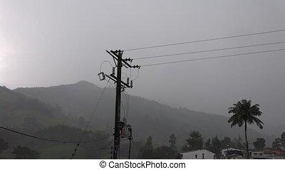 Telephone Pole and Lightning Strike