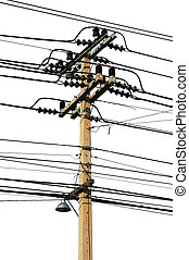 Isolated telephone pole with numerous electic cables