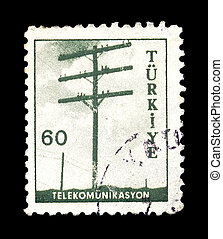 telephone pole postage stamp
