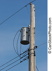 Telephone Pole with Bright Blue Sky Background