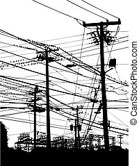 telephone poles - A complex maze of telephone poles and...