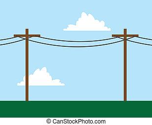 Telephone Poles  - Telephone poles in front of sky scene