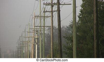 Telephone poles timelapse. - Timelapse shot of line of...