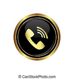 Telephone receiver icon on the black with gold round button...
