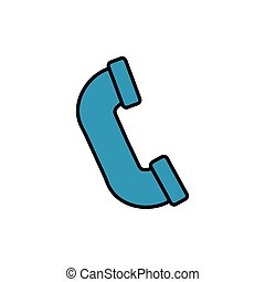 telephone receiver, line style icon vector illustration ...