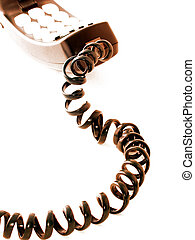 Telephone receiver and curly cord, toned brown