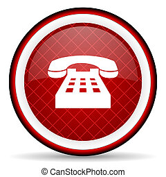 telephone red glossy icon on white background