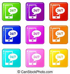 Telephone repair icons set 9 color collection