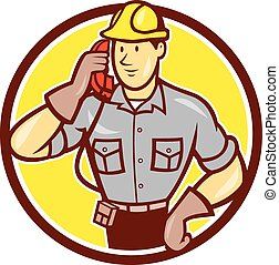Telephone Repairman Phone Circle Cartoon