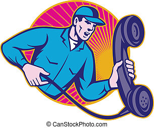 Telephone Repairman Worker Holding