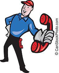 Telephone Repairman Worker Phone - Illustration of telephone...
