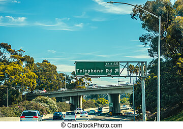 Telephone road exit sign in Pacific Coast Highway south bound. Southern California, USA