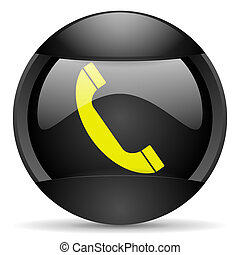 telephone round black web icon on white background