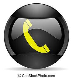 telephone round black web icon on white background