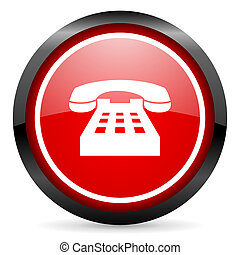 telephone round red glossy icon on white background