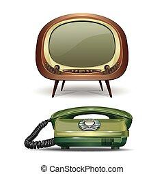 telephone., satz, vektor, wählscheibe, weinlese, ...