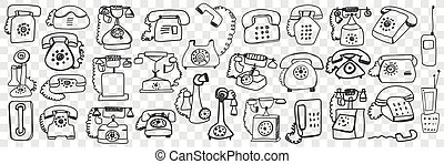 Telephone set doodle set. Collection of hand drawn retro vintage telephone sets with tube and wires isolated on transparent background. Illustration of old fashioned communication type