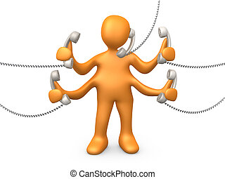 Telephone Support - 3d person with four arms trying to talk...