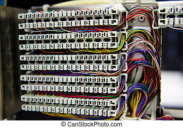 Telephone switchboard. - Telephone switchboard panel and...