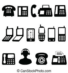 Telephone symbols - Various types of telephones in black