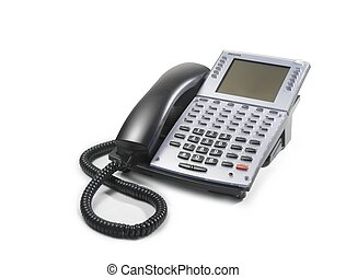 Telephone - telephone with black handset and grey keyboard