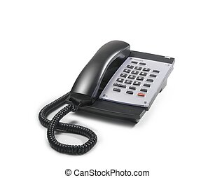 telephone with black handset and grey keyboard