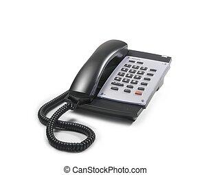 Telephone - telephone with black handset and grey keyboard
