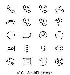 Telephone thin icons