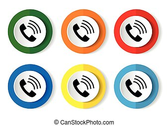 Telephone vector icon set, flat design buttons on white background for webdesign and mobile phone applications
