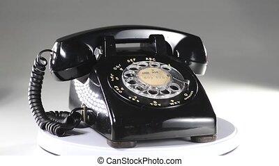 telephone., vieux, noir