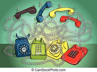 Telephone Wire Maze Game. Task: Connect each phone body with the right handset! Answer: 1-red; 2-green; 3-blue; 4-yellow. Illustration is in eps10 vector mode!