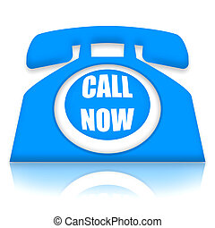 Call Now - Telephone with Call Now invitation over white ...