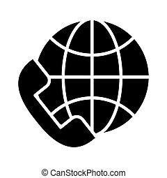 telephone with sphere browser call center service silhouette style icon