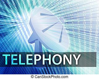 Telephony illustration digital collage with satellite dish