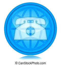 Telephony - Phone and globe icon inside glass sphere, global...