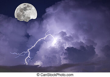 Telephoto image of a Lightning strike during a night storm