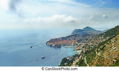Telephoto lens panorama of Dubrovnik old town. - Telephoto...