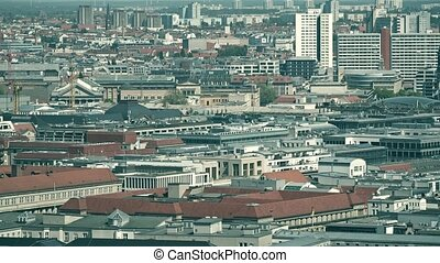 Telephoto lens shot of rooftops in Berlin, Germany -...