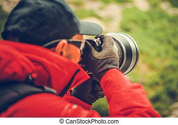 Telephoto Nature Photography. Caucasian Professional...