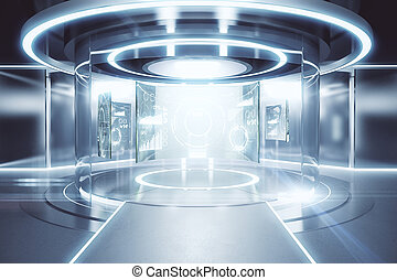 Teleport with business panels - Abstract glowing silver...