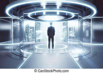 Teleport with financial screens - Thoughtful businessman in...