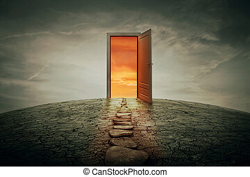 teleportation door - Pathway along a dry, cracked desert...