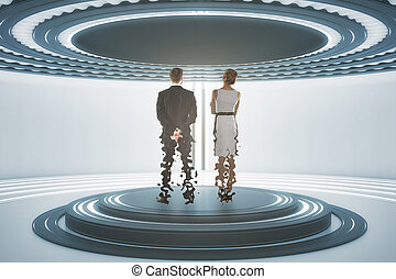 Teleporting businessman and woman - Back view of businessman...