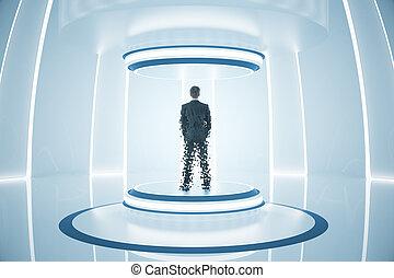 Teleporting businessman - Back view of businessman inside...