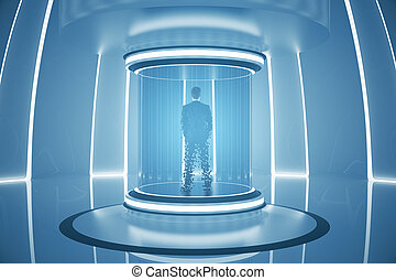 Teleporting businessperson - Back view of businessperson...