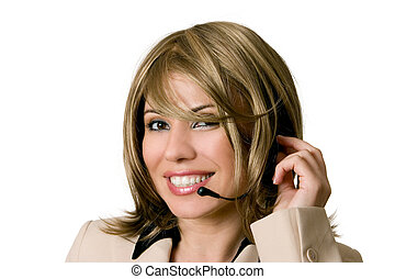 Telesales or help desk operator - Smiling female help desk...