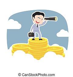 telescoop, bovenzijde, muntjes, aziaat, zakenman, gebruik, piek