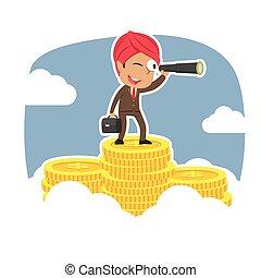 telescoop, bovenzijde, muntjes, indiër, piek, zakenman, gebruik